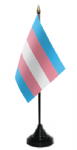 Transgender Pride (pink/blue) Desk / Table Flag with plastic stand and base
